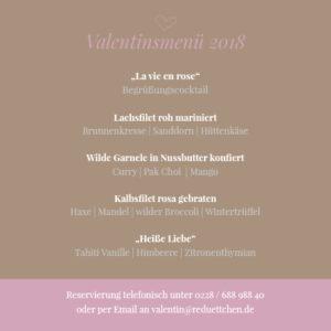 Valentinstagsmenü 2018 im Restaurant Redüttchen!